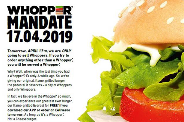 It's Whopper Day Today (17.4.19)