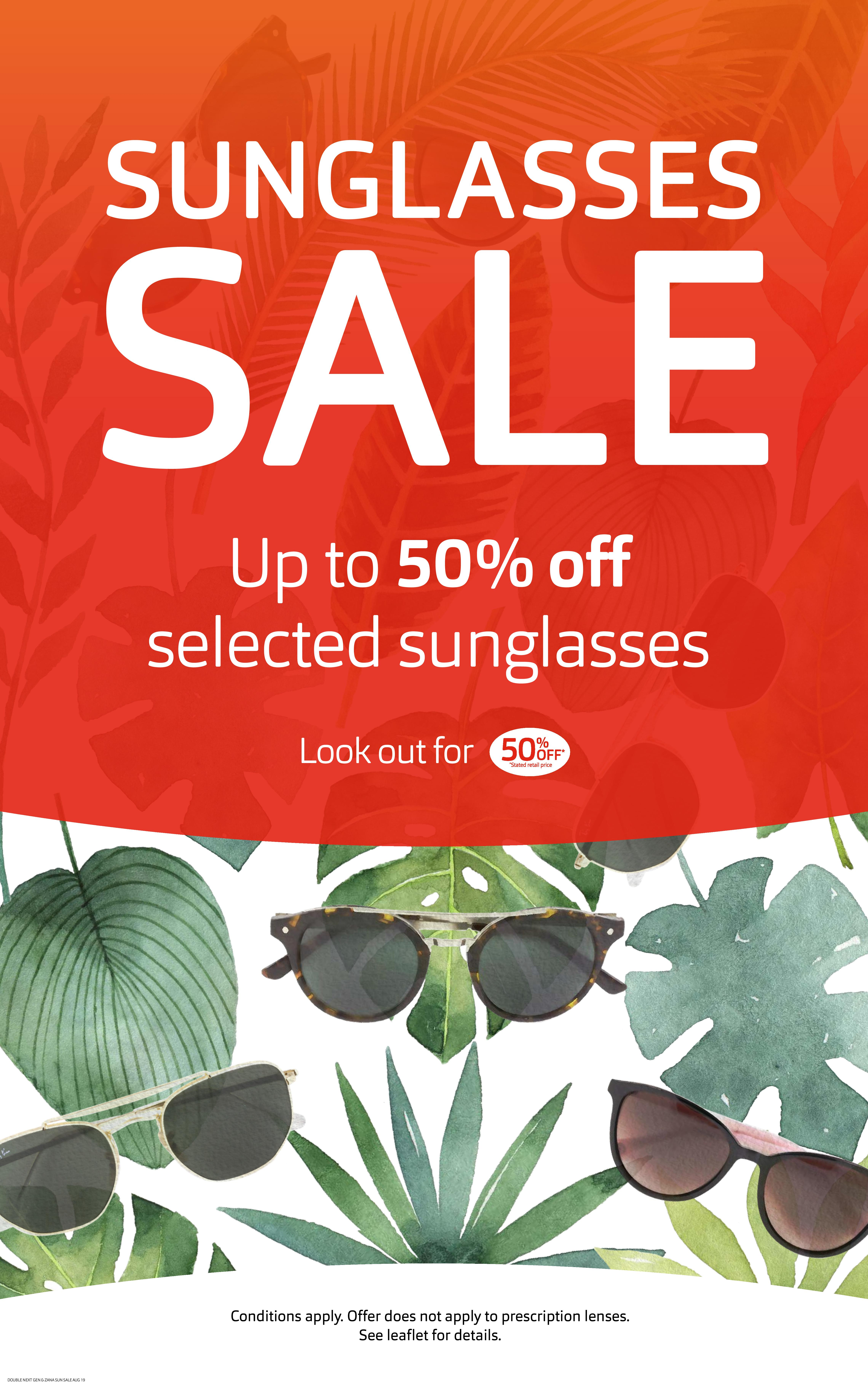 Up to 50% off sunglasses at Vision Express