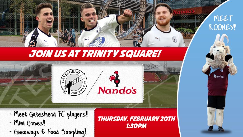 Gateshead FC coming to Trinity Square