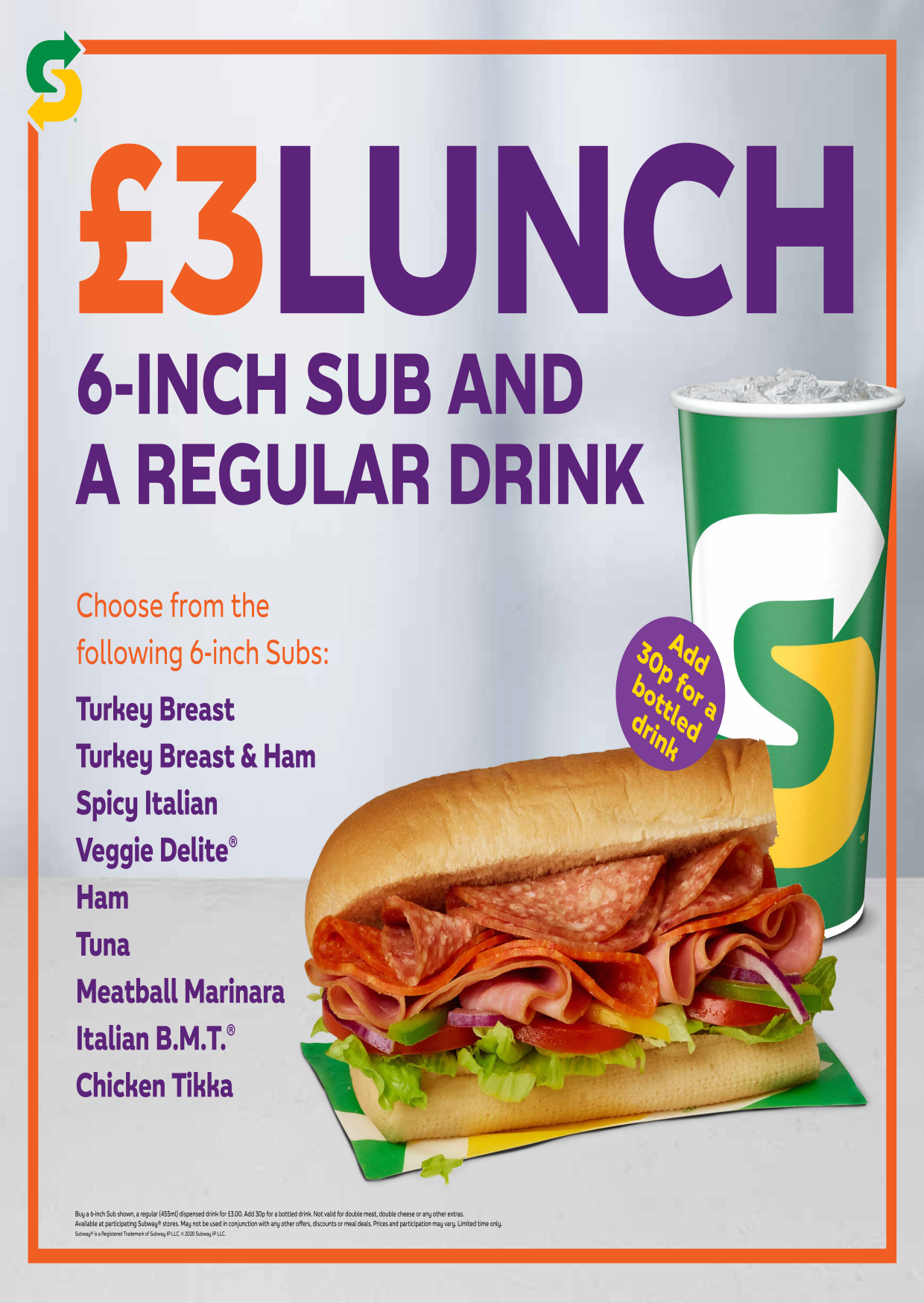 Subway meal deal for £3